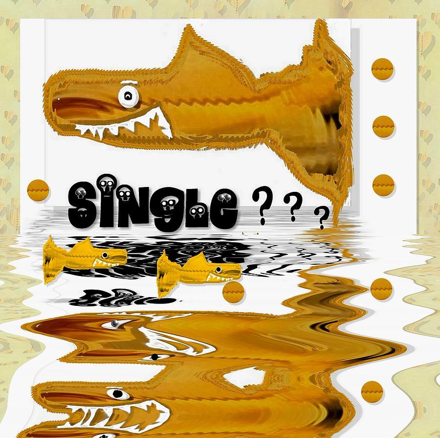 Single Shark Pop Art Mixed Media