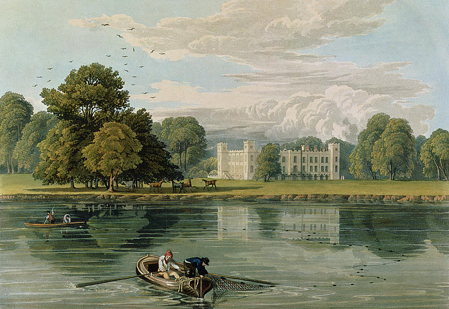 Neo-classical English Architecture Drawing - Sion House, Engraved By Robert Havell by William Havell