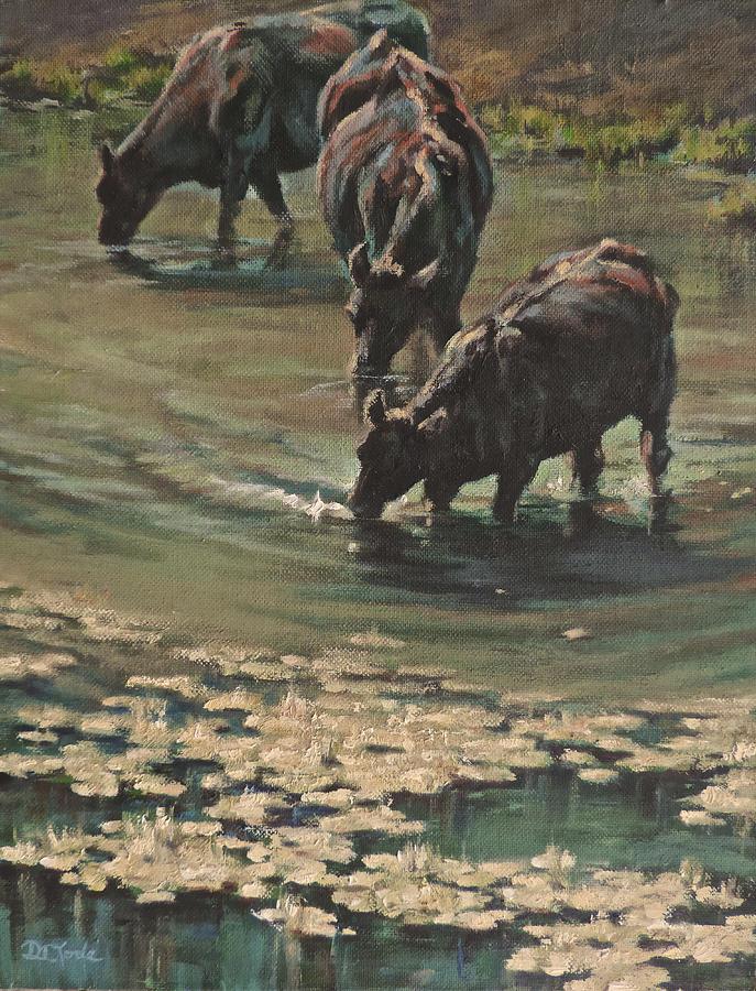Cows Bovine Painting - Sip N Dip by Mia DeLode