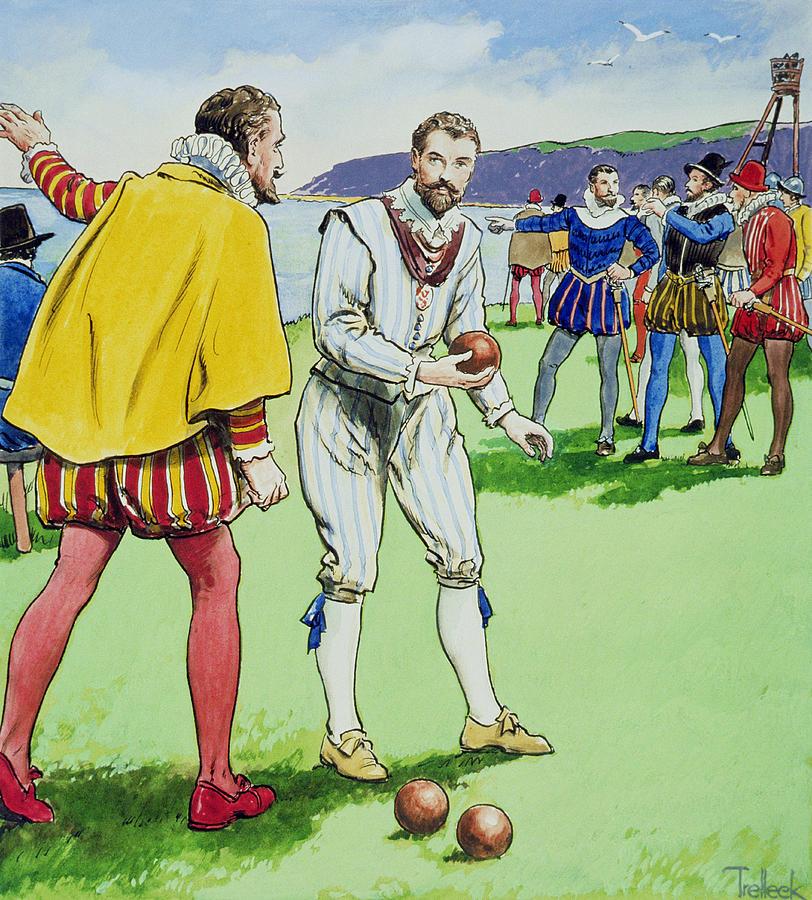 Male Drawing - Sir Francis Drake Playing Bowls by Trelleek