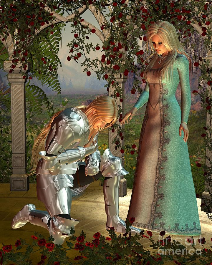 Sir Launcelot And Queen Guinevere Digital Art  - Sir Launcelot And Queen Guinevere Fine Art Print