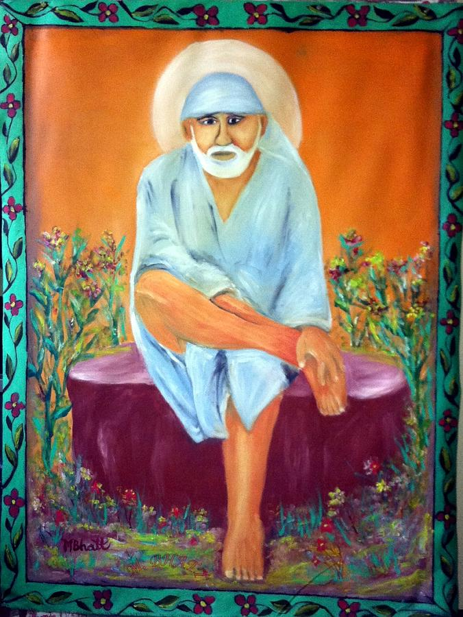 Sirdi Sai Baba Painting - Sirdi Wale Sai Baba by M bhatt