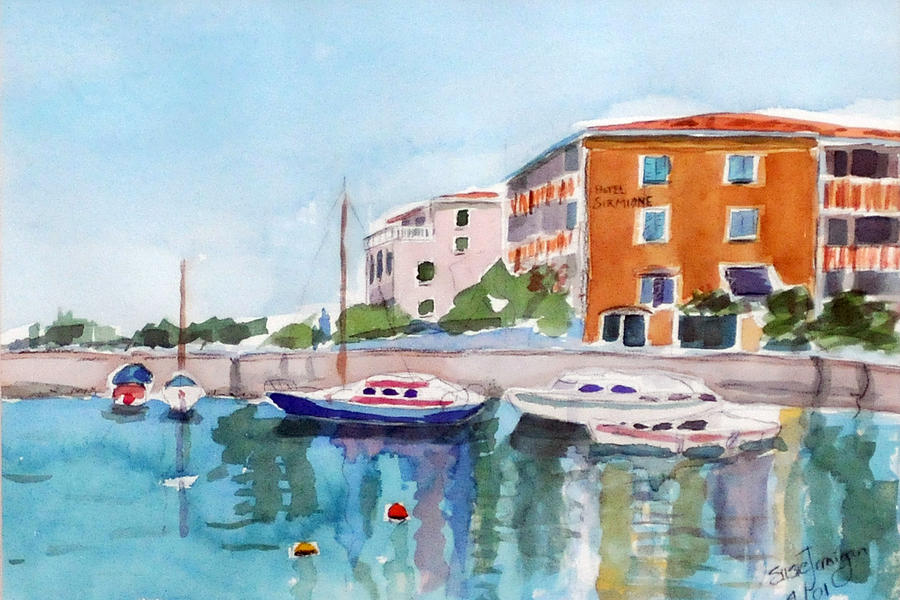 Sirmione Waterfront Painting  - Sirmione Waterfront Fine Art Print