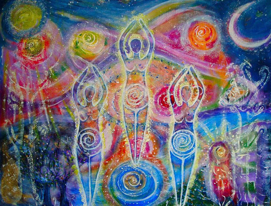 Sisterhood Of The Divine Feminine Painting  - Sisterhood Of The Divine Feminine Fine Art Print