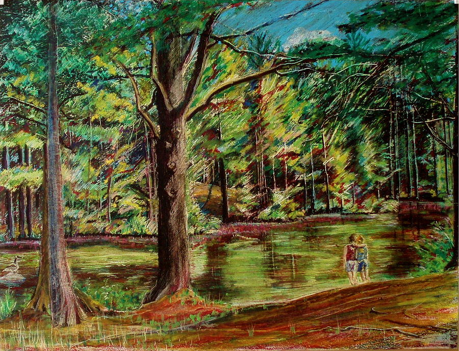 Sisters At Wason Pond Painting  - Sisters At Wason Pond Fine Art Print