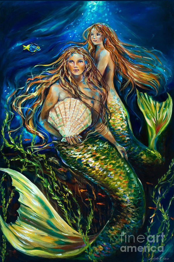 Mermaid Painting - Sisters by Linda Olsen