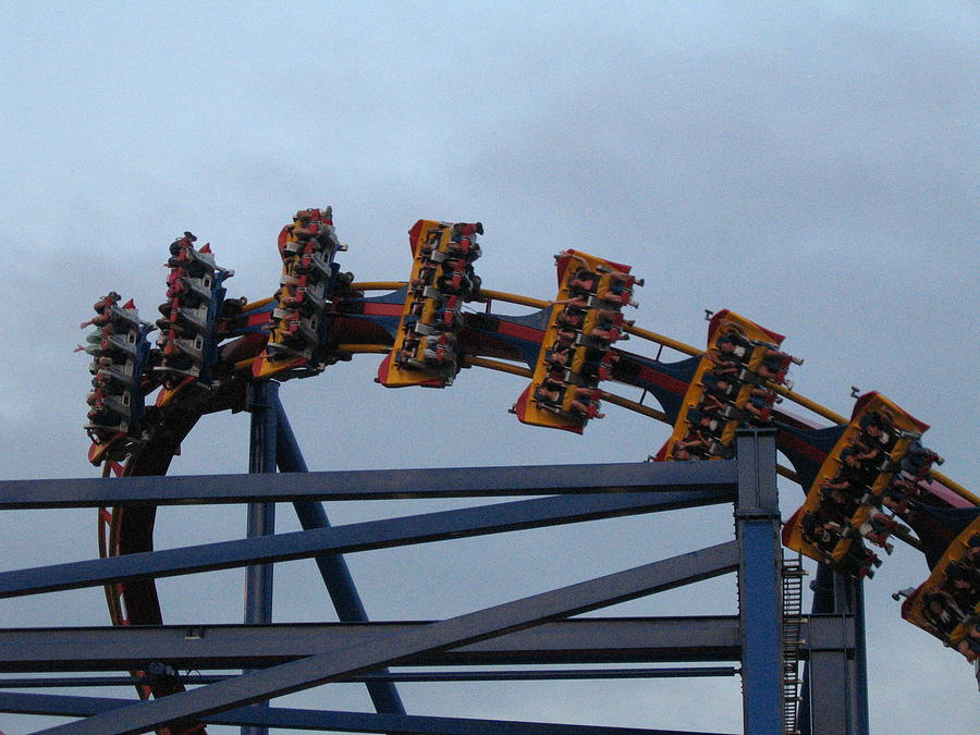 Six Photograph - Six Flags Great Adventure - Medusa Roller Coaster - 12127 by DC Photographer