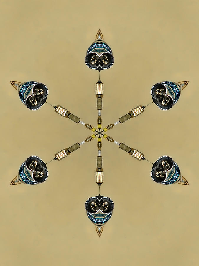 Abstract Digital Art - Six Heads Are Better Than One - Ecru by Wendy J St Christopher
