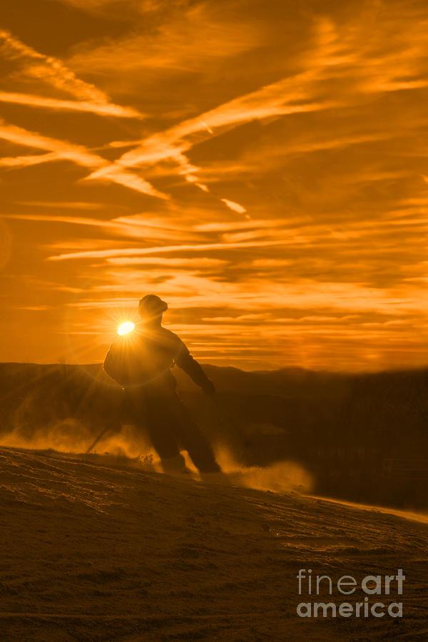 Skiing Photograph - Skiing West Virgina Sunset by Dan Friend