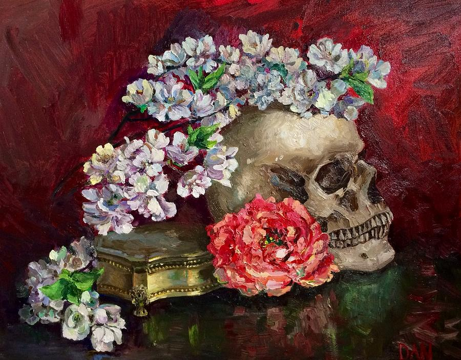 Skull And Flowers Painting by Maryna Danylovych
