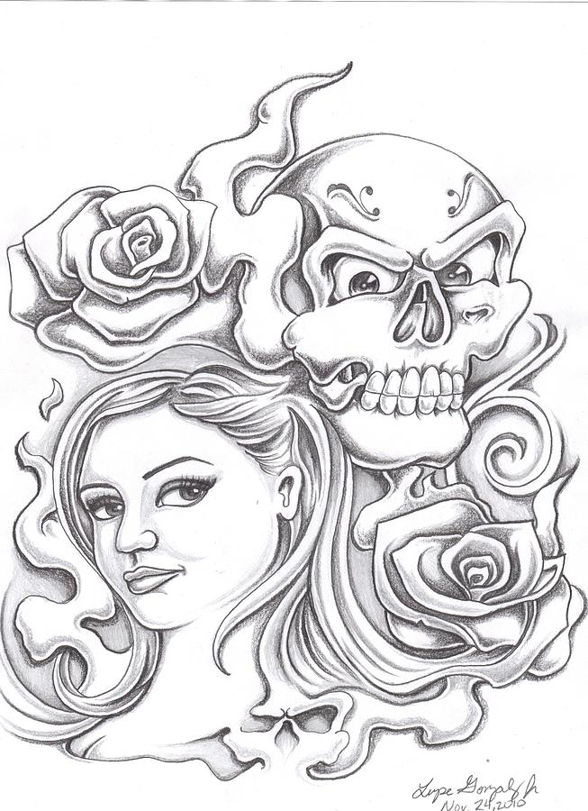 coloring pages of roses and skulls - skull and roses drawing by lupe gonzalez