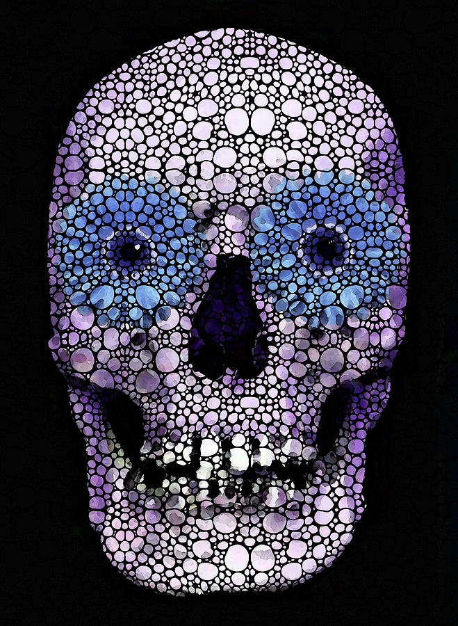 Skull Art - Day Of The Dead 2 Stone Rockd Painting  - Skull Art - Day Of The Dead 2 Stone Rockd Fine Art Print