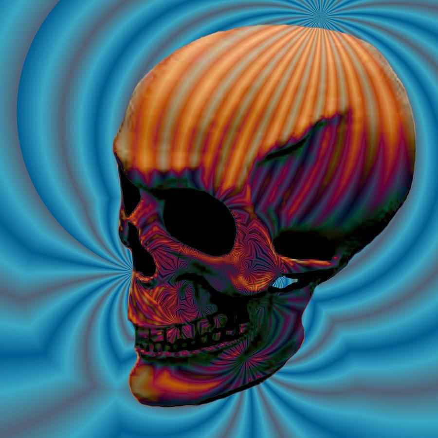Skull Aura Orange Digital Art