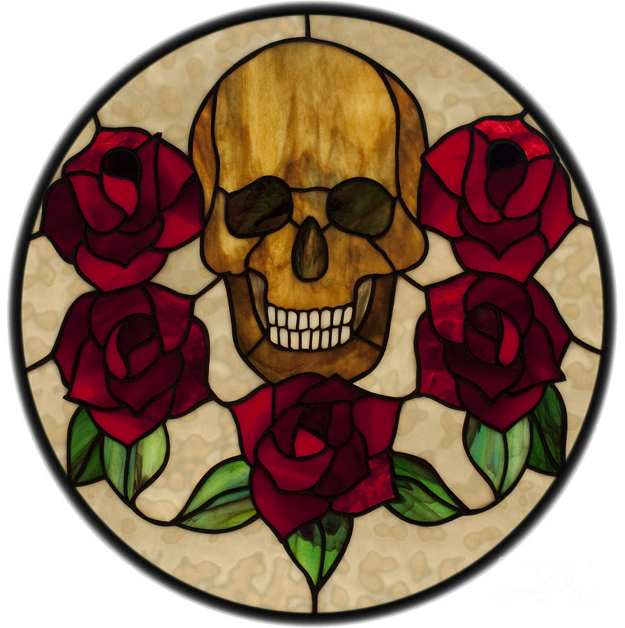 Stained Glass Glass Art - Skull No1 On White by David Kennedy