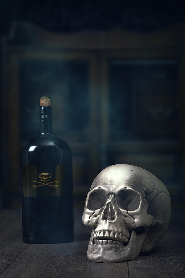 Skull With Poison Bottle Photograph