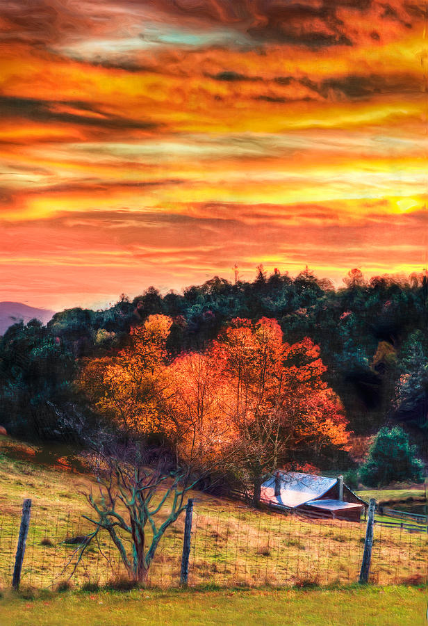 Sky Ablaze - Blue Ridge Sunrise II Painting  - Sky Ablaze - Blue Ridge Sunrise II Fine Art Print