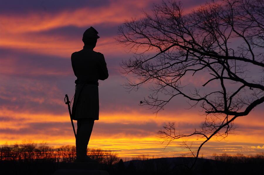 Sky Fire - 124th Ny Infantry Orange Blossoms-1a Sickles Ave Devils Den Sunset Autumn Gettysburg Photograph