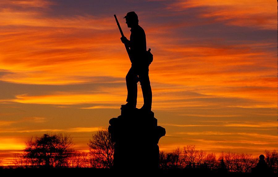 Sky Fire - 128th Pennsylvania Volunteer Infantry A1 Cornfield Avenue Sunset Antietam Photograph