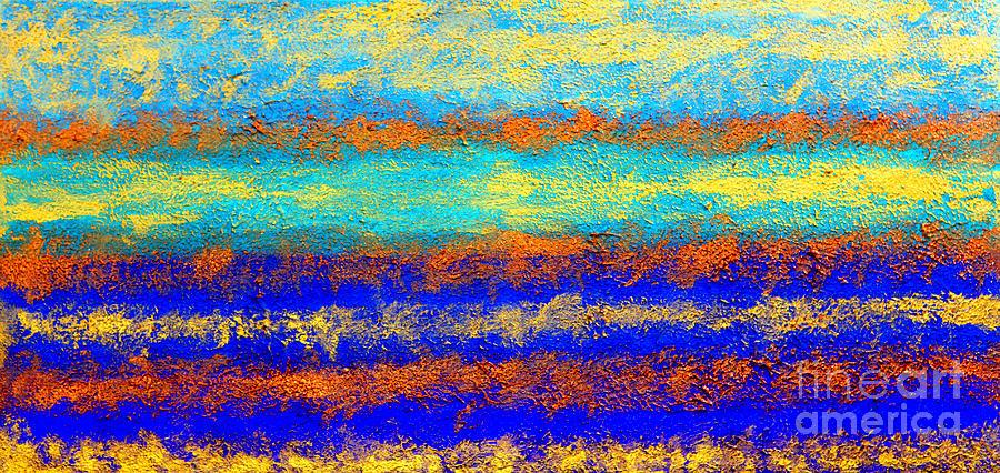 Oil Painting Painting - Sky Lights - Original Metallic Gold Bronze Art  Painting by Emma Lambert
