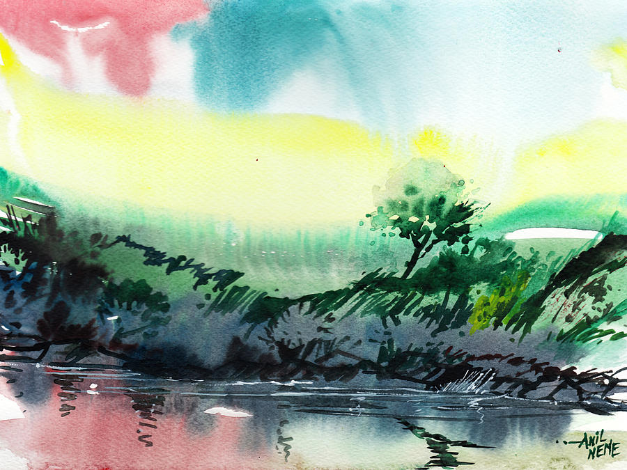 Nature Painting - Sky N Lake by Anil Nene