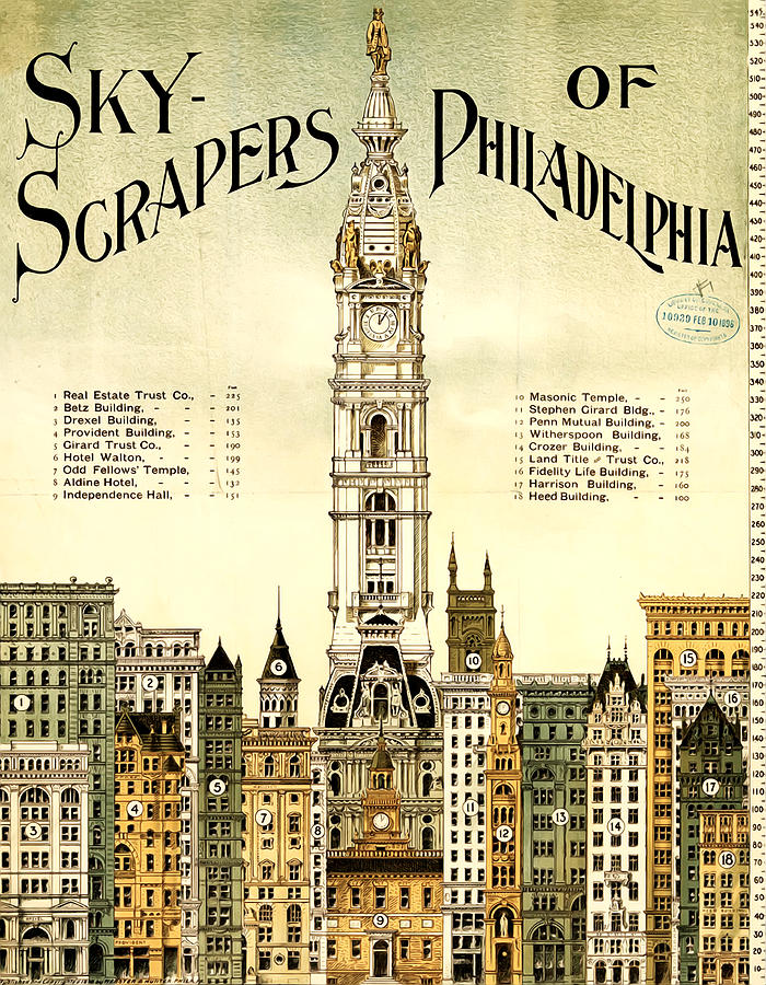 Sky Scrapers Of Philadelphia 1896 Drawing  - Sky Scrapers Of Philadelphia 1896 Fine Art Print
