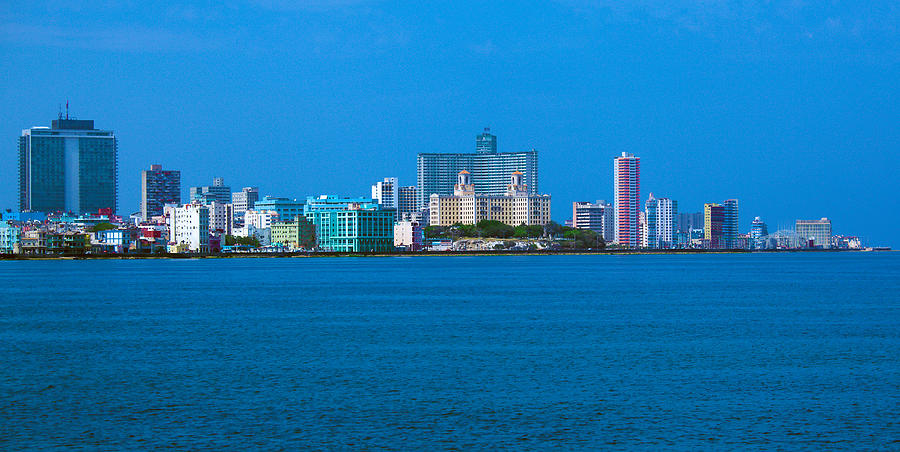 Skyline Of Modern Havana And Caribbean Sea Cuba Photograph