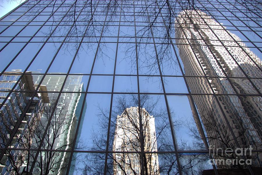 Skyscraper Reflections - Charlotte Nc Photograph