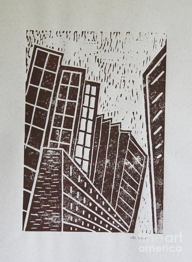 Skyscrapers - Block Print Mixed Media