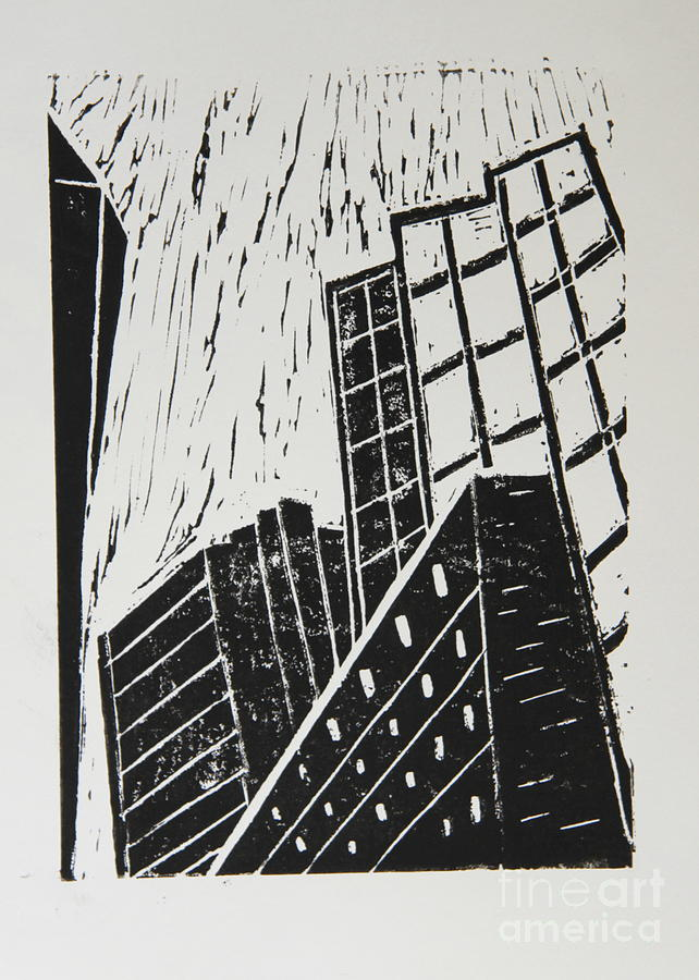 Skyscrapers II - Block Print Mixed Media
