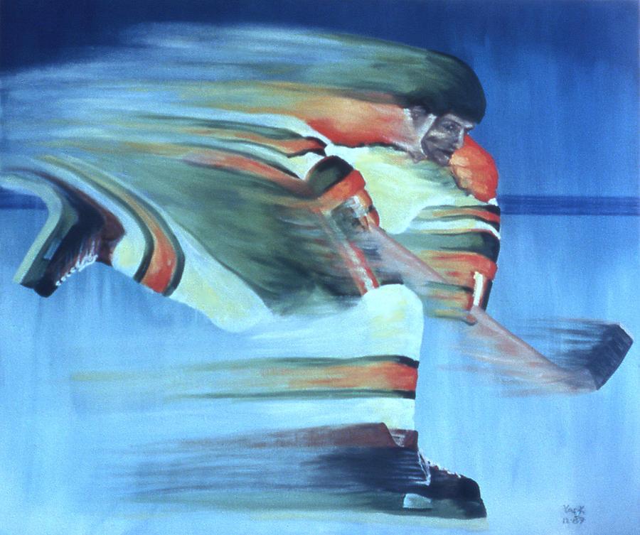 Hockey Painting - Slapshot by Ken Yackel