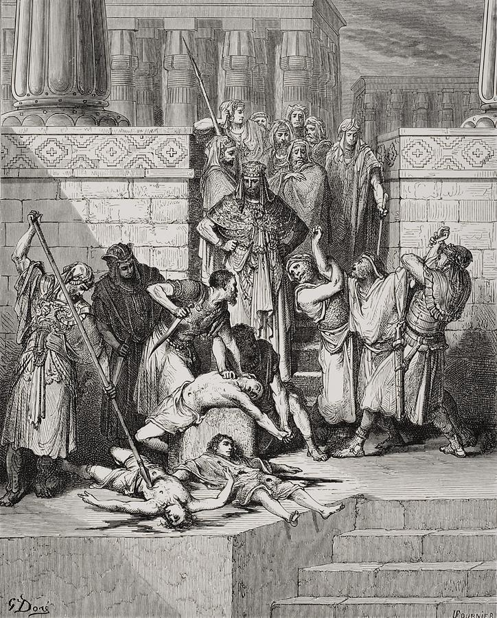 Slaughter Of The Sons Of Zedekiah Before Their Father Painting