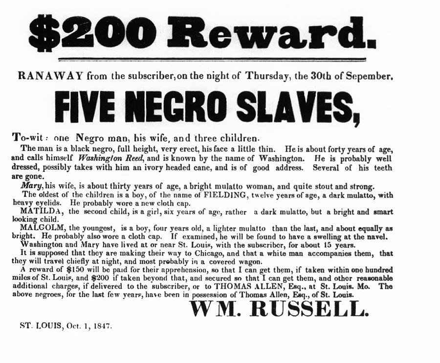 Slave Family And Children Escape - Reward Poster - 1847 Photograph