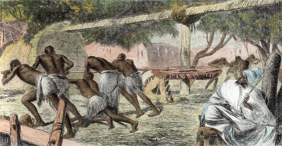 Slaves Irrigating By Water-wheel Drawing