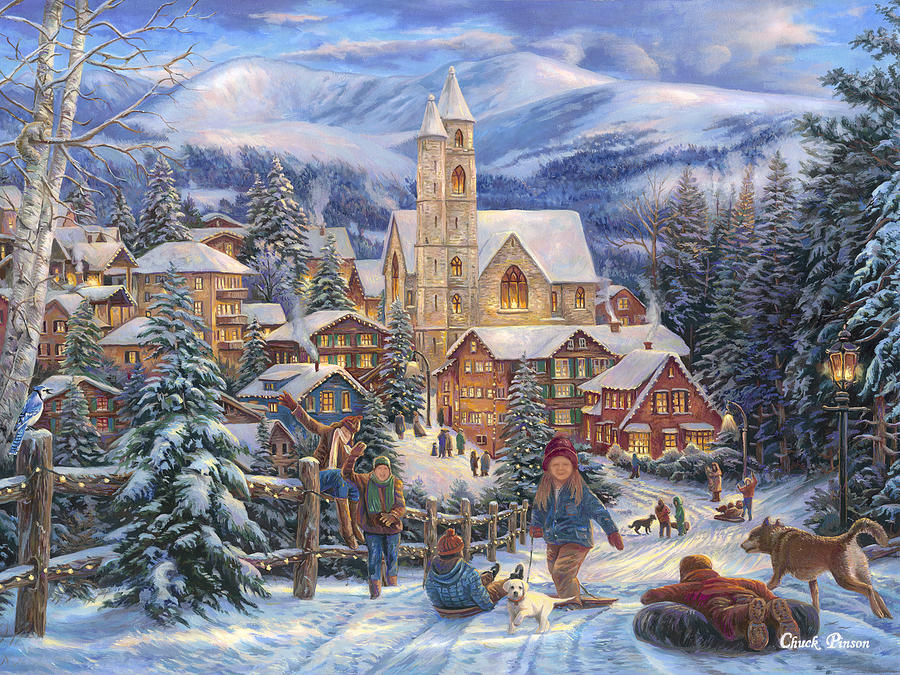 Christmas Village Painting - Sledding To Town by Chuck Pinson