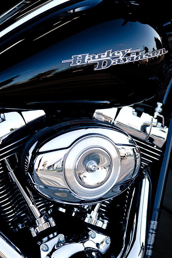 Sleek Black Harley Photograph
