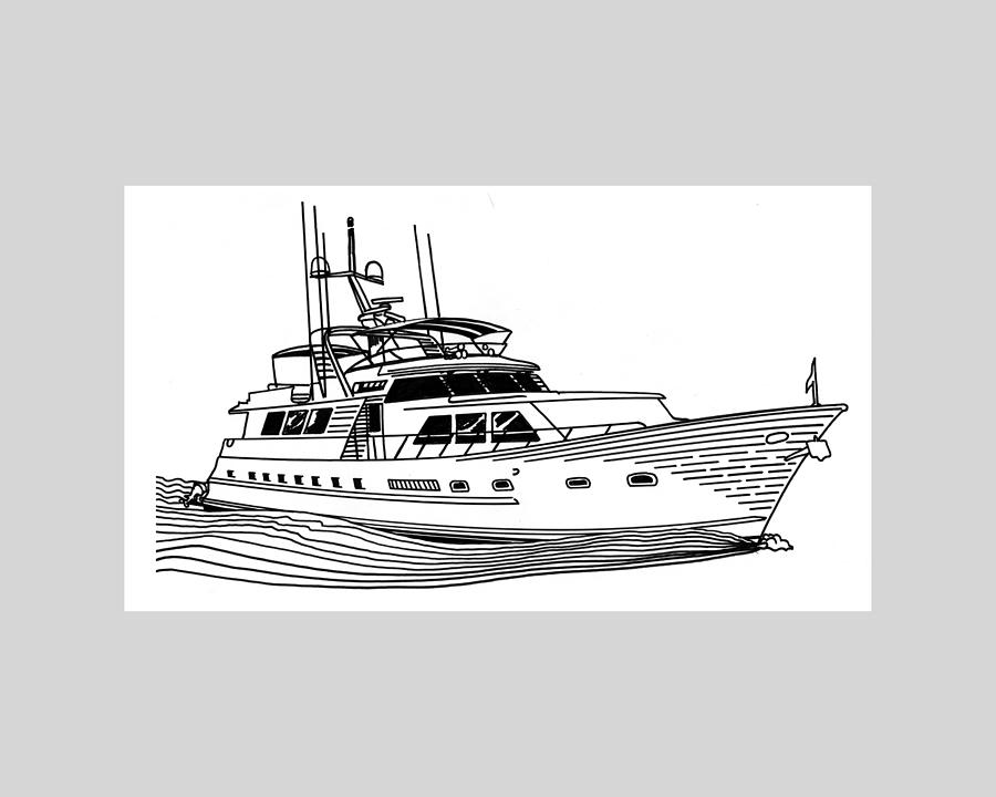Sleek Motoryacht Drawing