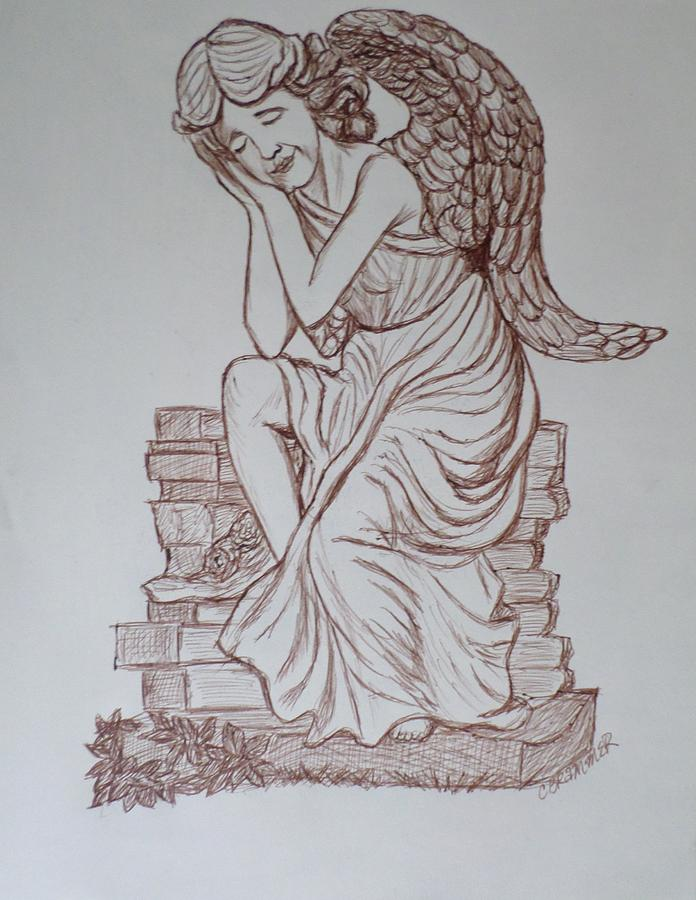 Angels Drawing - Sleep In Heavenly Peace by Christy Saunders Church