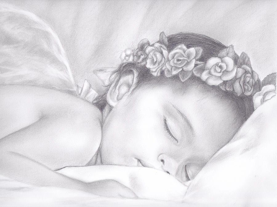 Sleeping Angel Drawing by Heidi Kriel