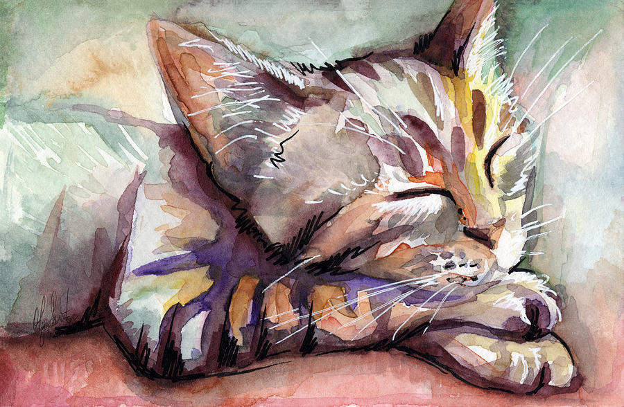 Sleeping Cat Painting - Sleeping Kitten by Olga Shvartsur