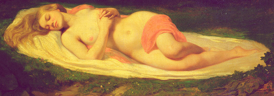 Asleep;female;nude;reclining;glade;forest;resting;odalisque Painting - Sleeping Nymph by Jean Baptiste Ange Tissier