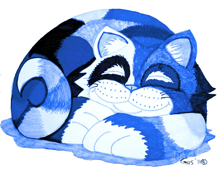 Cat Drawing - Sleepy Blue Cat by Nick Gustafson