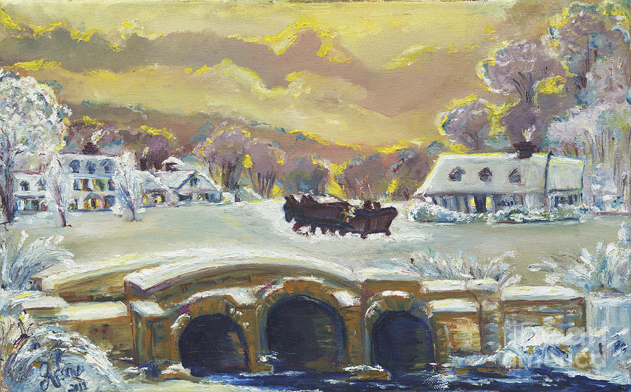 Sleigh Ride By The Creek Painting  - Sleigh Ride By The Creek Fine Art Print