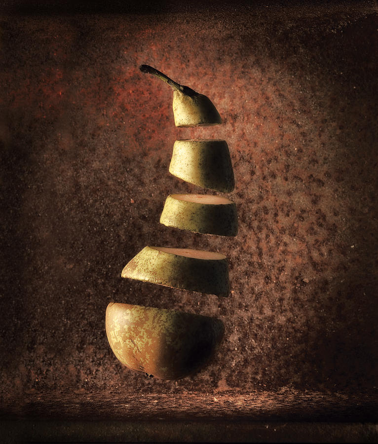 Sliced Up Pear Photograph  - Sliced Up Pear Fine Art Print