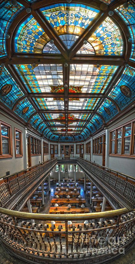 Slocum Hall Romanesque Arcade And Stained-glass Skylight Ohio Wesleyan University Photograph  - Slocum Hall Romanesque Arcade And Stained-glass Skylight Ohio Wesleyan University Fine Art Print