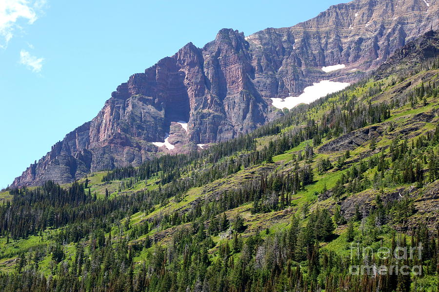 Sloping Mountain At Two Medicine Lake Photograph