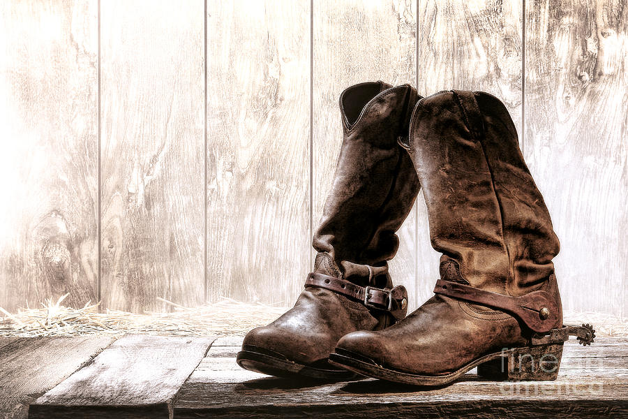 Western Photograph - Slouch Cowboy Boots by Olivier Le Queinec