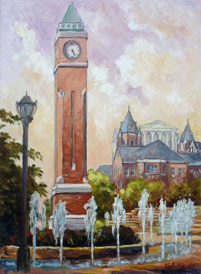 Slu Clock Tower In St.louis Painting  - Slu Clock Tower In St.louis Fine Art Print
