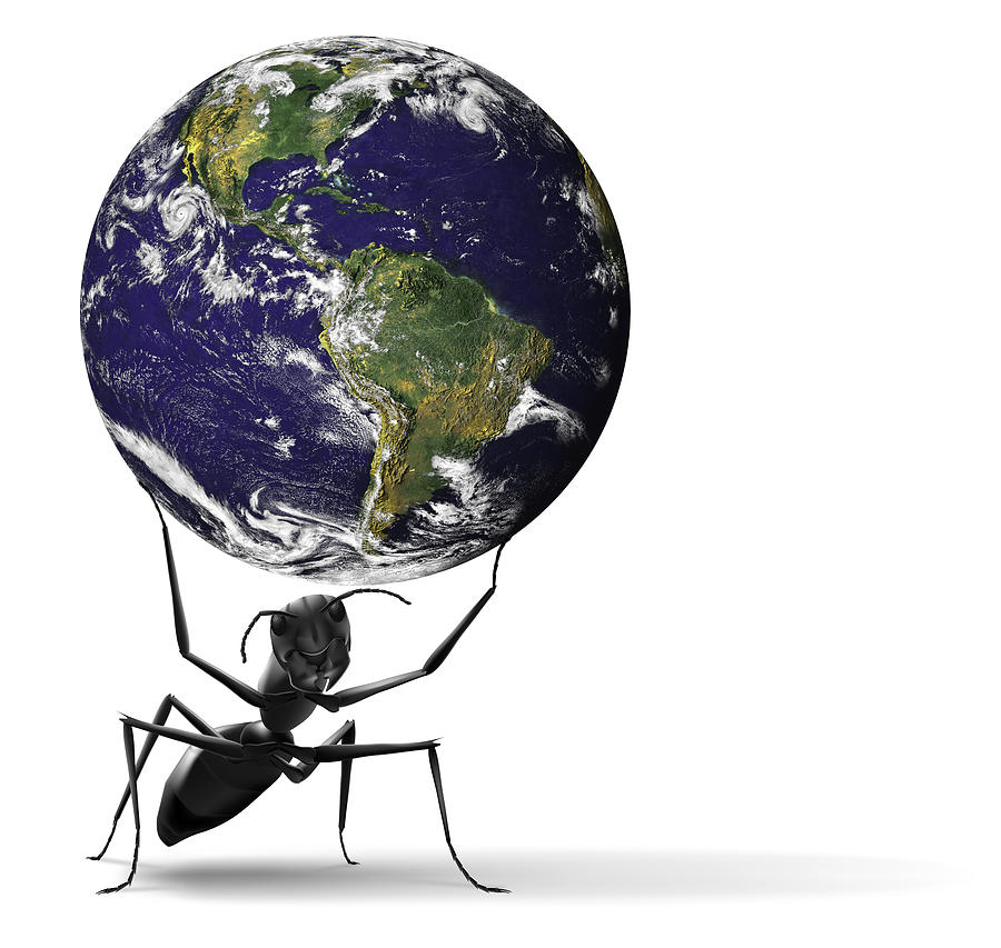 Small Ant Lifting Heavy Blue Earth Digital Art