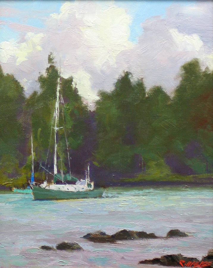 Small Boat On Reeds Bay Hilo Painting