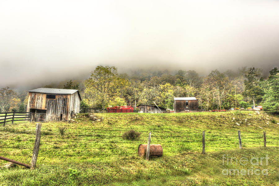 Smalll West Virginia Farm Coming Out Of Clouds Photograph